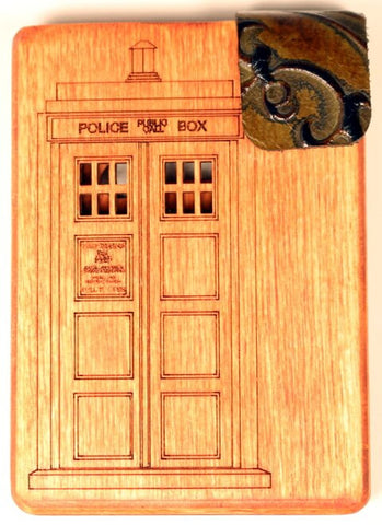Stained Wooden Dr. Who Mini Wallet