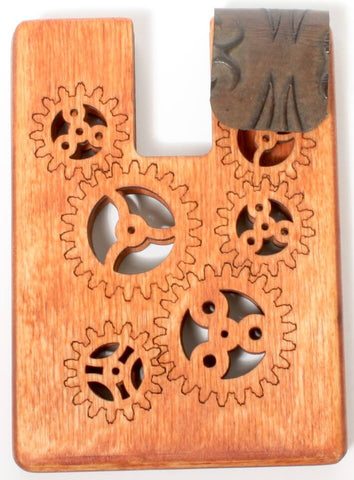 Stained Wooden Gears Mini Wallet
