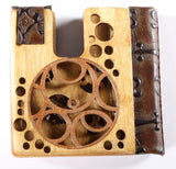 2-Color Wooden Steampunk Folding Wallet