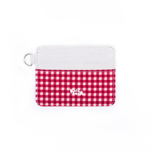 Plaid White Card Case
