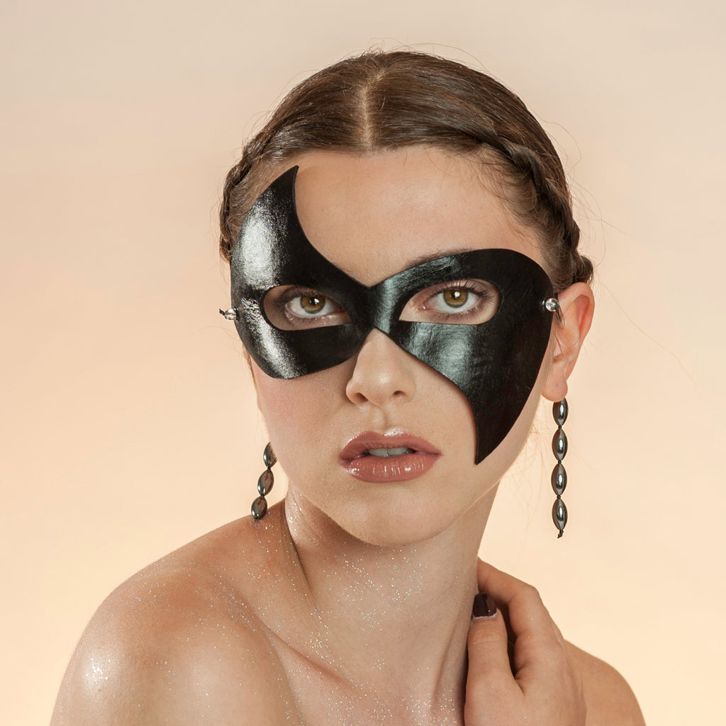 Elegant black masquerade mask by Wendy Drolma
