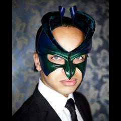 Amorpheus II - Green Leather and Velvet Mask by Wendy Drolma