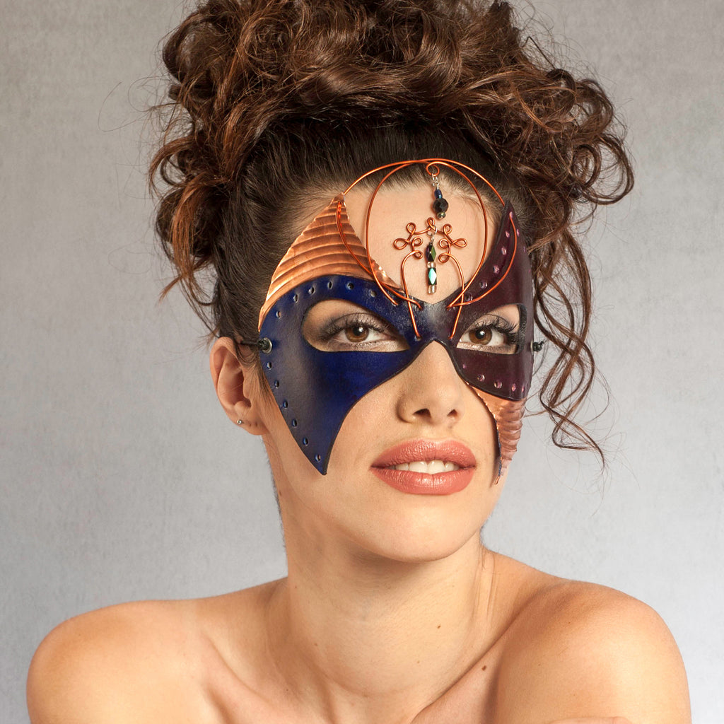 """Asteria"" Handmade Leather and Copper Mask by Wendy Drolma"