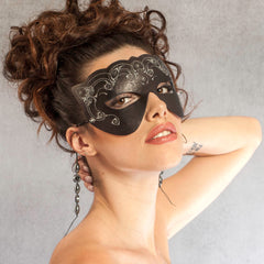 """Bast"" embroidered leather masquerade mask by Wendy Drolma"
