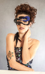 """Damzil"" Elegant Leather Masquerade Mask by Wendy Drolma"