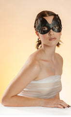"""Dani"" Leather Masquerade Mask by Wendy Drolma"