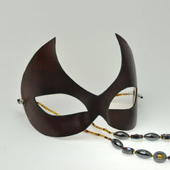 Brown Leather Domino Mask by Wendy Drolma
