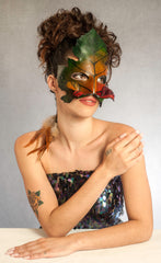 """Green Man"" handmade Leather Leaf Mask by Wendy Drolma"