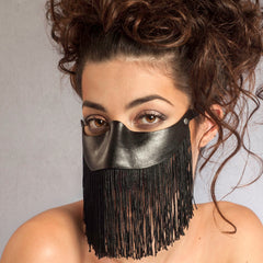 sexy black leather mask with fringe to wear with eyeglasses by Wendy Drolma