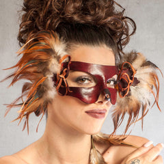 """Puck"" Handmade Red Leather Fox Masquerade Mask by Wendy Drolma"