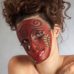 """She"" unique surrealist embroidered leather mask by Wendy Drolma"