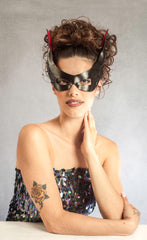 """Tish"" Handmade Leather and Lace Masquerade Mask by Wendy Drolma"