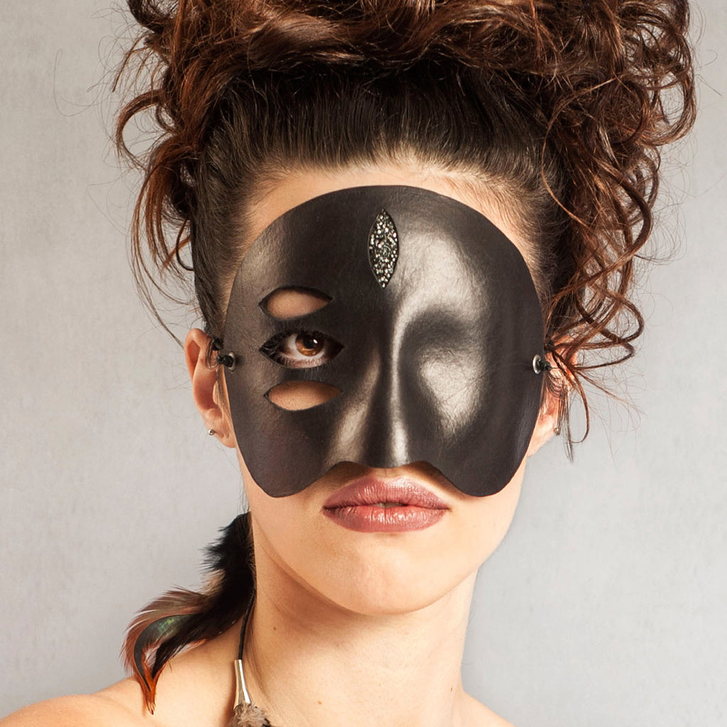 """Trace"" Surrealist Leather Masquerade Mask by Wendy Drolma"
