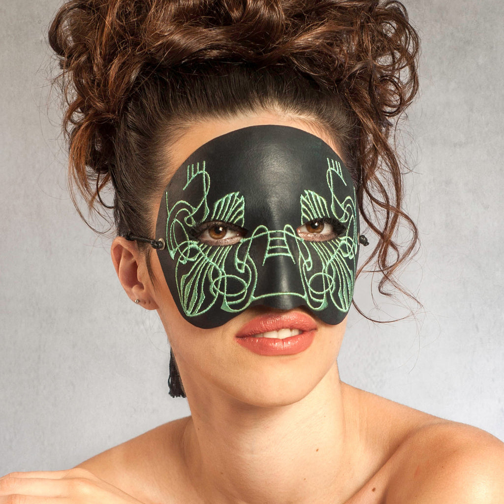 """Twain"" Embroidered Leather Masquerade Mask by Wendy Drolma"
