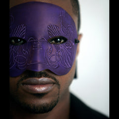 """Twain"" Embroidered Purple Leather Masquerade Mask by Wendy Drolma"