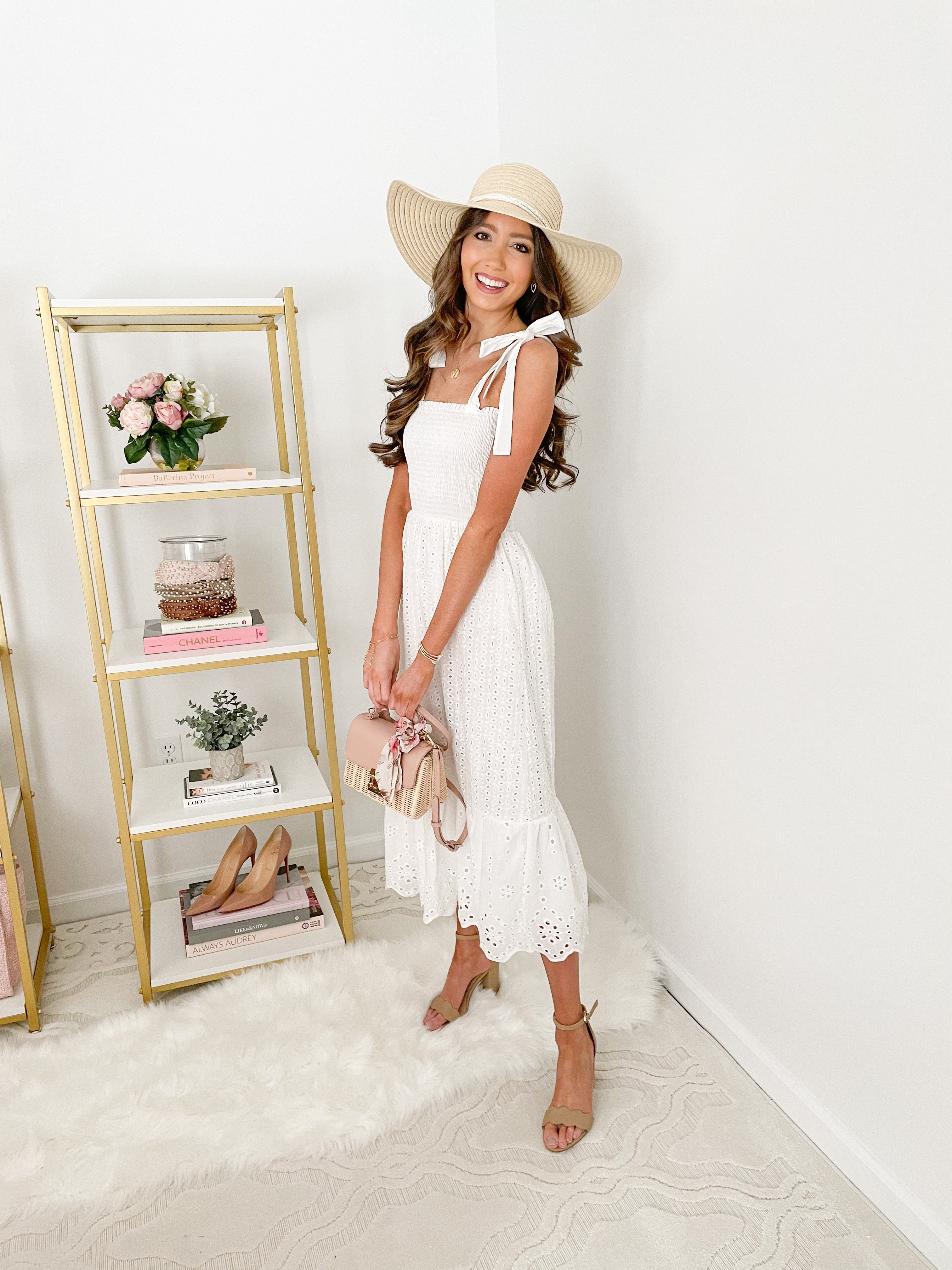 Love Story White Eyelet Midi Dress