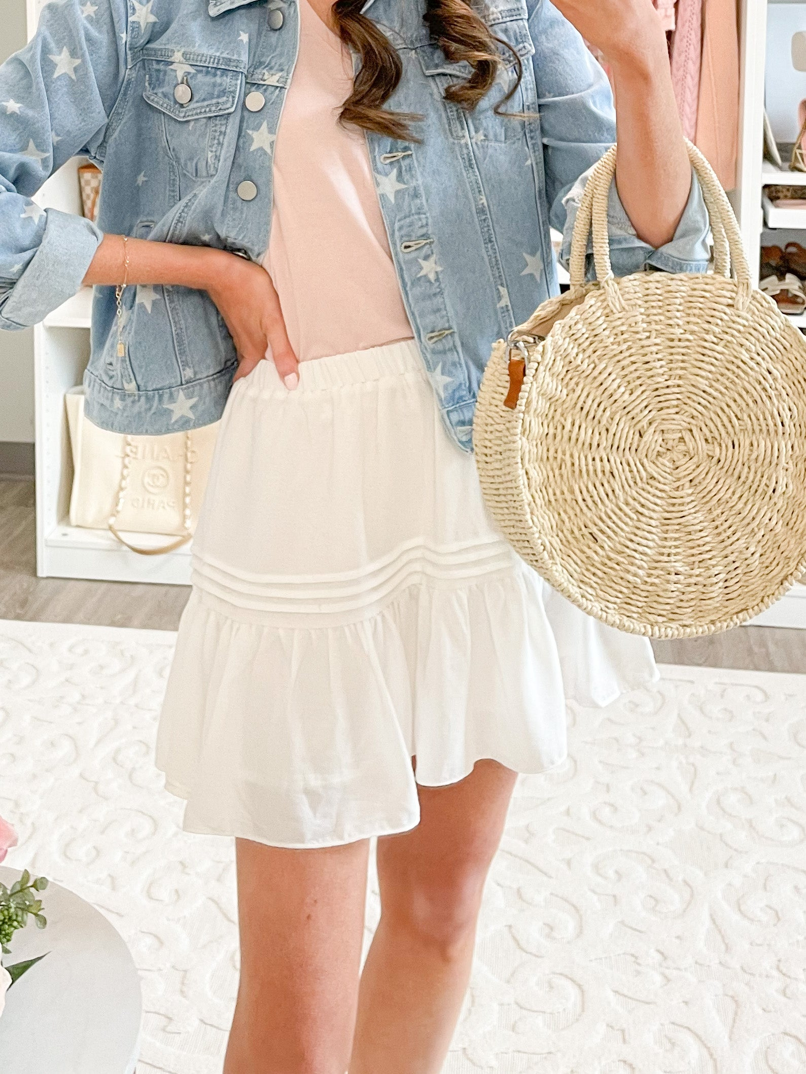 Summer Breeze Flowy Skirt with Shorts | White