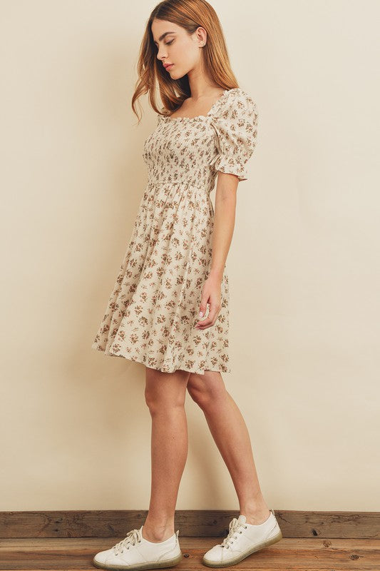 Belle Neutral Floral Dress