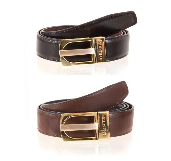 Mens Dents Brown & Black Reversible Leather Belt