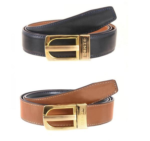 Load image into Gallery viewer, Mens Dents Navy & Tan Reversible Leather Belt