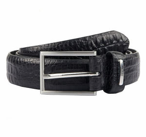Mens Dents Black Croc Print Leather Belt