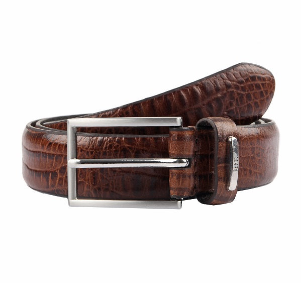 Load image into Gallery viewer, Mens Dents Brown Croc Print Leather Belt
