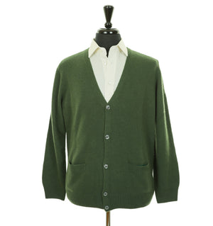 Mens Pine Green Merino and Cashmere Blend Cardigan