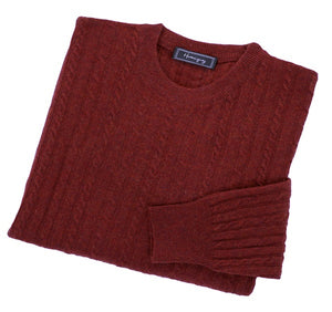 Load image into Gallery viewer, Mens Maroon Red Lambswool Cable Knit Crew Neck Jumper
