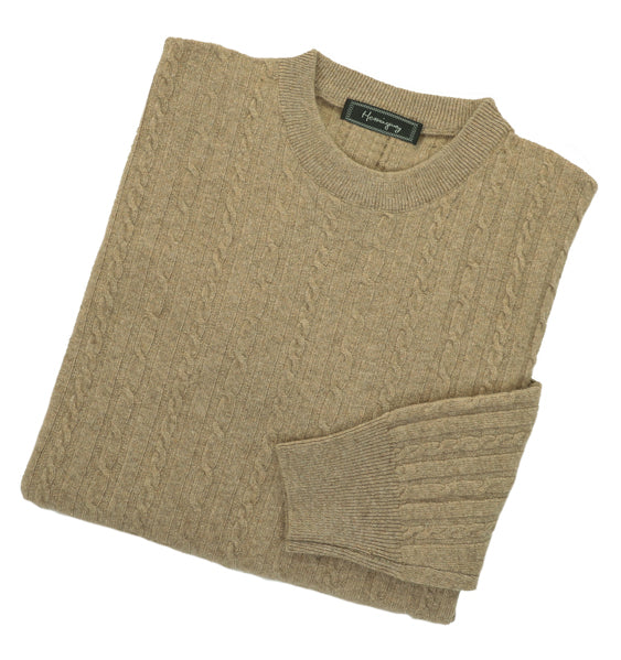 Mens Beige Lambswool Cable Knit Crew Neck Jumper
