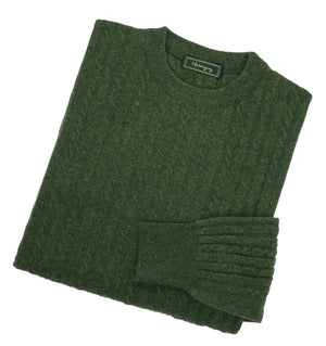 Mens Forest Green Lambswool Cable Knit Crew Neck Jumper