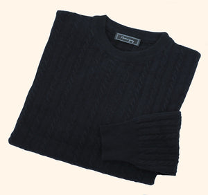 Mens Navy Lambswool Cable Knit Crew Neck Jumper