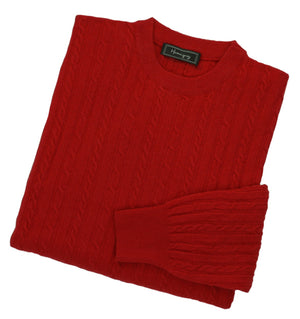 Mens Poppy Red Lambswool Cable Knit Crew Neck Jumper