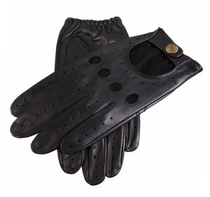 Mens Dents Black Hairsheep Leather Driving Gloves