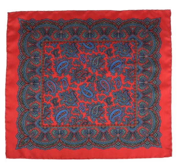 Red Silk Pocket Square - Large Paisley