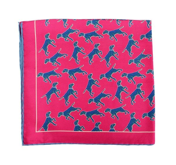 Load image into Gallery viewer, Pink Dog Print Silk Pocket Square