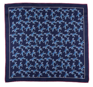 Dark Blue Dog Print Silk Pocket Square