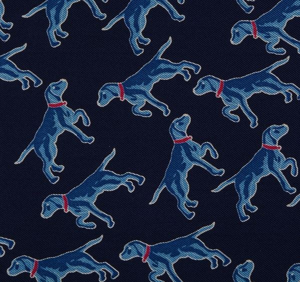 Load image into Gallery viewer, Dark Blue Dog Print Silk Pocket Square