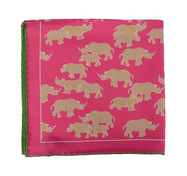 Pink Rhino Print Silk Pocket Square