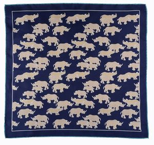 Dark Blue Rhino Print Silk Pocket Square