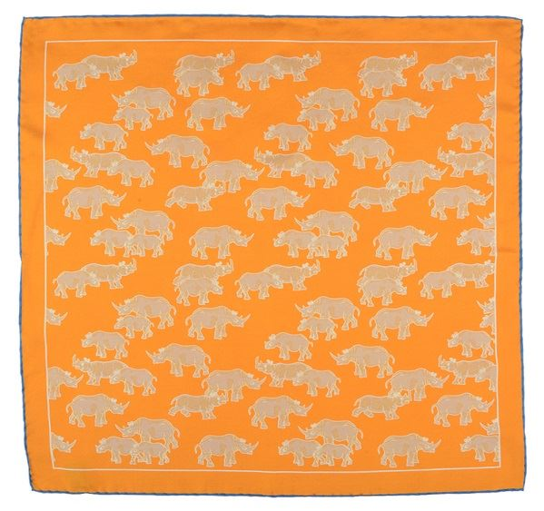 Load image into Gallery viewer, Ochre Rhino Print Silk Pocket Square