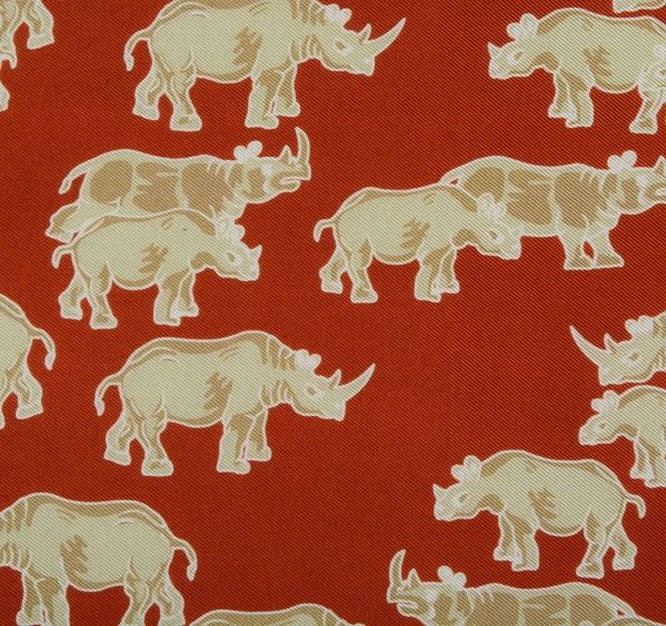 Load image into Gallery viewer, Rust Orange Rhino Print Silk Pocket Square