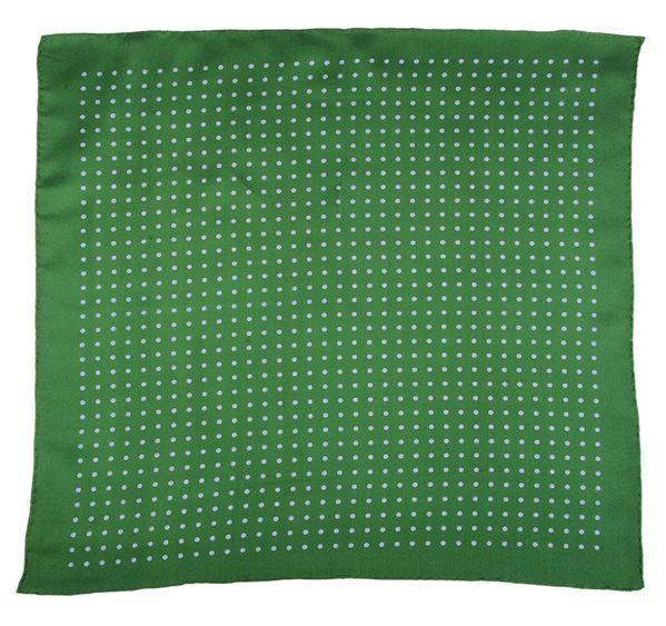 Green Spotted Silk Pocket Square