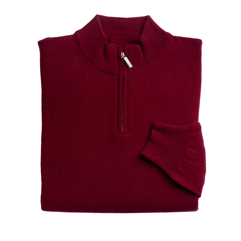 Load image into Gallery viewer, Mens Burgundy 100% Lambswool Half Zip Jumper
