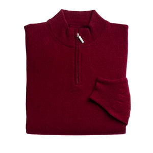 Mens Burgundy 100% Lambswool Half Zip Jumper