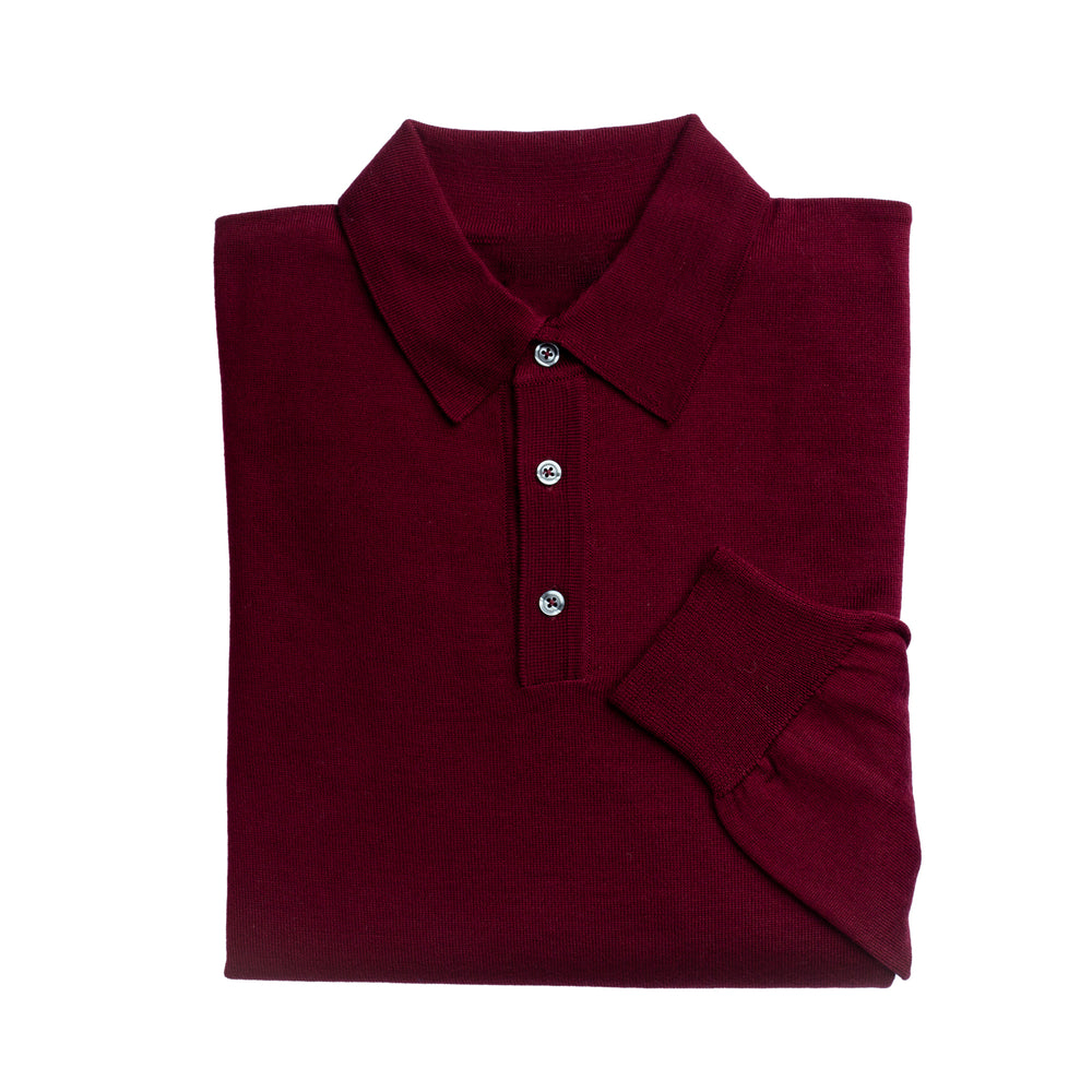 Mens Wine 3 Button 100% Merino Wool Polo Jumper