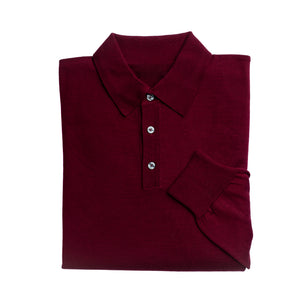 Load image into Gallery viewer, Mens Wine 3 Button 100% Merino Wool Polo Jumper