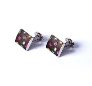 Load image into Gallery viewer, Rectangle Dots Base Metal Cufflinks