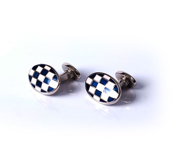White & Blue Oval Grid Base Metal Cufflinks