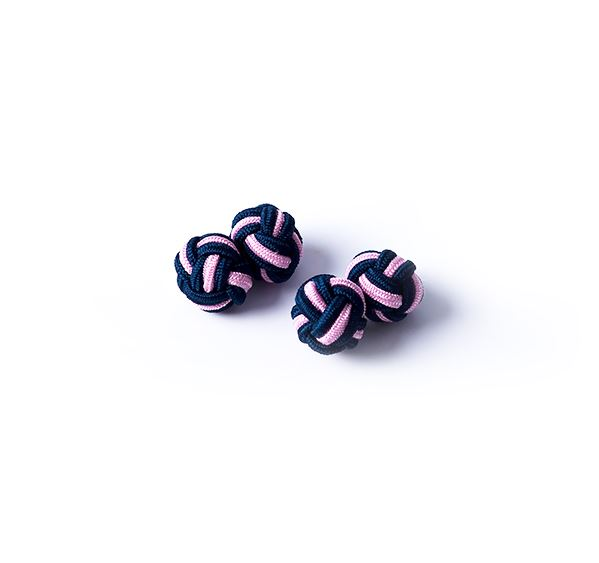 Navy and Pink Silk Knot Cufflinks