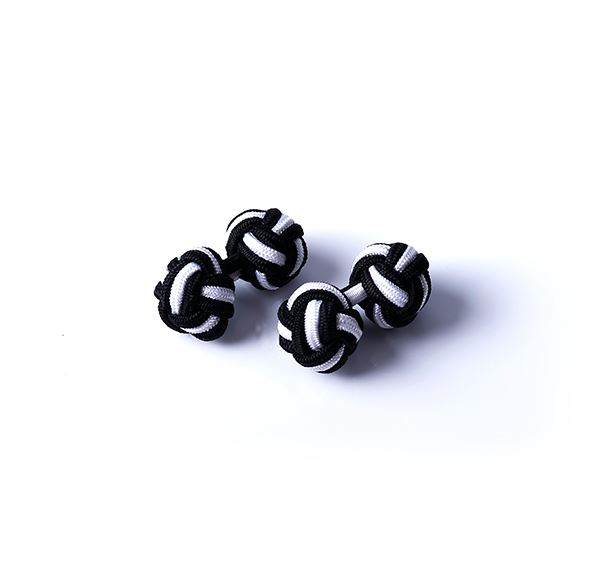 Black and White Silk Knot Cufflinks